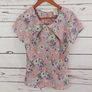 Shabby Apple Dusty Rose Floral Print Top Size  0-2
